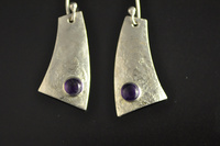 Reticulated silver and Amethyst Earrings