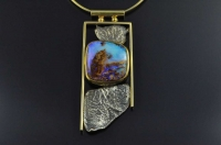Koroit boulder opal and 18ct gold pendant