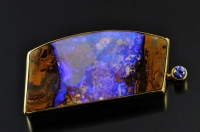 Blackgate boulder opal and 18ct gold brooch/pendant