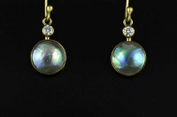 Paua pearls, diamonds and 18ct gold earrings