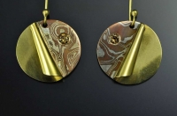 Mokume Gane, Diamond and 18ct earrings