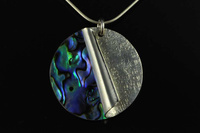 Paua shell and Sterling silver, rolled edge pendant