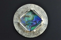 Paua shell and Sterling silver brooch