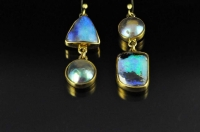 Paua pearls, Boulder opals and 18ct gold earrings
