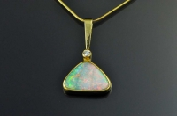 Boulder opal, diamond and 18ct gold pendant