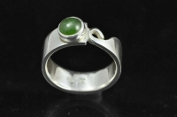 Pounamu and Koru Sterling silver ring