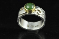 Pounamu, Koru, 22ct gold and Sterling silver ring