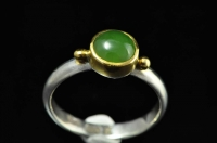 Pounamu, 22ct gold and Sterling silver ring