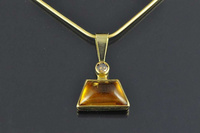 Natural Citrine, Zircon and 18ct gold pendant