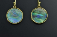 Paua shell and 18ct gold earrings