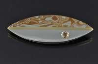 Mokume Gane, 18ct gold, Champagne diamond and Sterling silver contemporary brooch