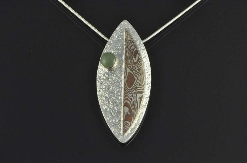 Mokume gane pounamu and sterling silver contemporary pendant mokume gane pounamu and sterling silver contemporary pendant aloadofball Gallery