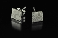 White gold Mokume Gane and silver earstuds