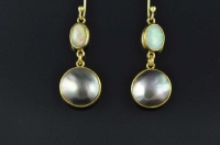 Black pearls, opals and 18ct gold earrings