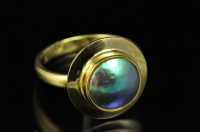 Paua pearl and 18ct gold ring