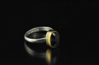 Australian black sapphire, 22ct gold and Sterling silver ring