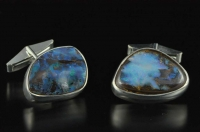 Yowah Boulder opal and  silver cufflinks