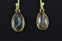 Boulder opal and 18ct gold earrings