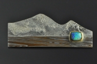 Layers below the mountain, mokume gane and opal brooch