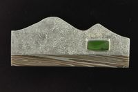 Modern Pounamu and Mokume Gane brooch