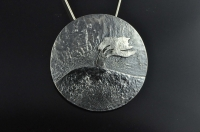 Wind-swept lone tree, silver pendant and brooch