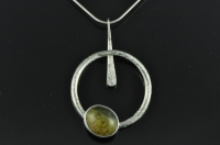 Spiral drop silver pendant with Marsden Pounamu
