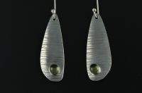 Peridot and textured silver asymmetric earrings