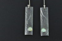 Reticulated and blackened Sterling silver and Welo Ethiopian opal earrings