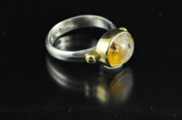 Citrine 22ct gold and Sterling silver ring,
