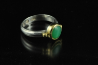 Chrysophrase, 22ct gold and Sterling silver ring