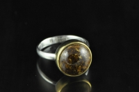 Enstatite, 22ct gold and Sterling silver ring