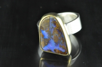 Yowah Boulder opal, 22ct gold and Sterling silver ring