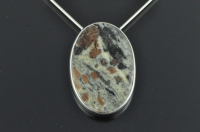 Garnet schist and Sterling silver pendant