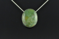 Natural Green Turquoise and silver pendant