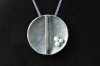 Three white pearl blackened Sterling silver pendant