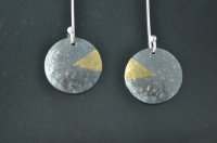 Blackened textured silver earrings with 22ct gold sector