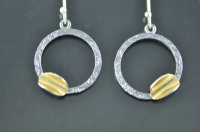 Golden trough, open blackened silver earrings