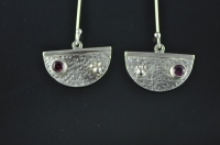 Pink Tourmaline and granulated silver earrings