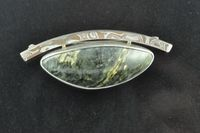 Pounamu, Mokume Gane and Sterling silver brooch