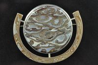 Fossil Palm wood and Mokume Gane brooch