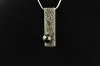 Mokume Gane and Black pearl pendant