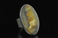 White Cliffs, banded agate and Sterling silver wide band Ring