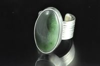 Pounamu and Sterling silver wide band Ring