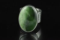 Bi coloured Pounamu and Sterling silver wide band ring