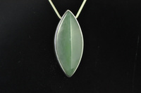 Siberian Ice Jade and silver pendant