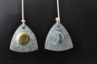 Golden Sun and Silver Moon blackened earrings