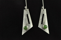 Pounamu and textured silver triangular earrings (and pendant)