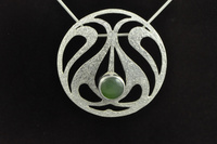 Art Nouveau style Pounamu and silver pendant