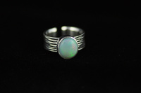 Greens Opal and textured silver ring