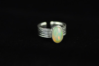 Multi-coloured Opal and textured silver ring